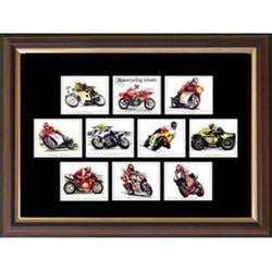 Main Image for: Motor Cycling Greats Framed Cigarette Card Se