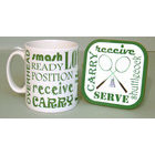Image of: Badminton Text Mug and Coaster Set