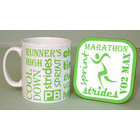 Image of: Running Text Mug and Coaster Set