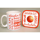 Image of: Basketball Text Mug and Coaster Set