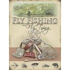 Image of: Fly Fishing with Fly Tying Metal Wall Sign