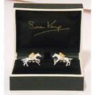 Racehorse and Jockey Silver & Gold Cufflinks
