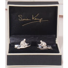 Image of: Skier Sterling Silver Cufflinks