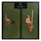Image of: Pheasant & Gun Embroidered Cotton Handkerchiefs