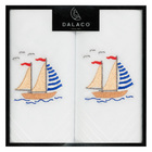 Image of: Sail Boat Embroidered Cotton Handkerchiefs